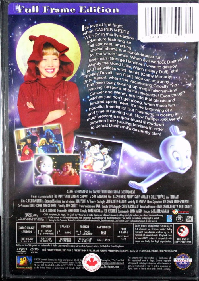 Casper Wendy DVD back vhs